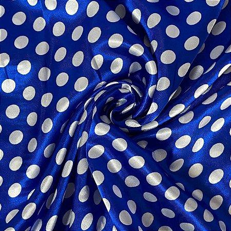 Cetim Estampado Azul com Poá Branco