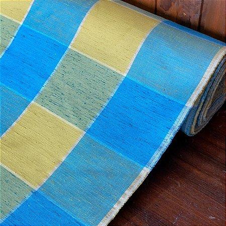 Seda Mista Xadrez Azul e Amarelo
