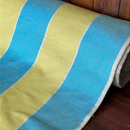 Seda Mista Listrada Azul e Amarelo
