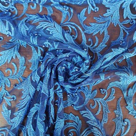 Tule Bordado Com Pedraria Azul Royal