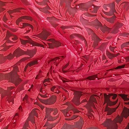 Tule Bordado Com Pedraria Vermelho