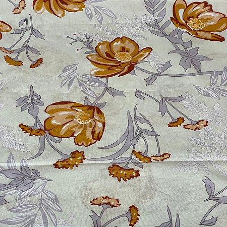 Percal Estampado Floral Fundo Marfim
