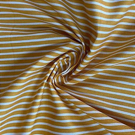 Popeline Impermeável Listrada Amarelo