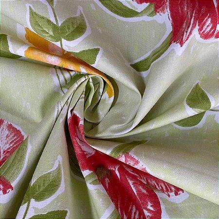 Popeline Impermeável Floral Fundo Verde-Chá