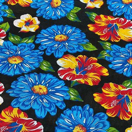 Chitão Estampado Fundo Preto Com Flores Azuis