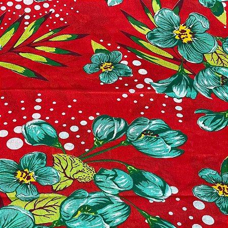 Chitão Estampado Floral em Vermelho