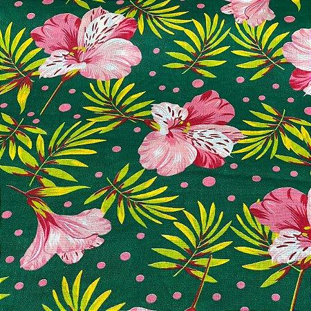 Chitão Estampado Fundo Verde Com Flores Rosas