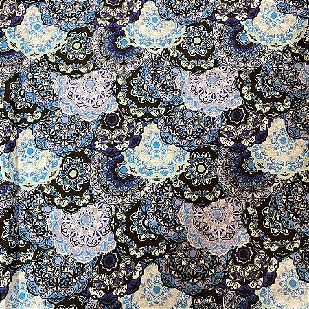 Tricoline Estampada de Mandala Azul