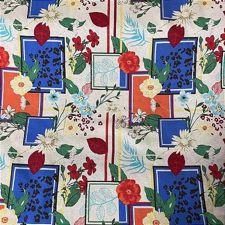 Linho Verano Estampado Flores e Formas com Azul