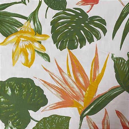 Popeline Impermeável Estampada Floral em Sol