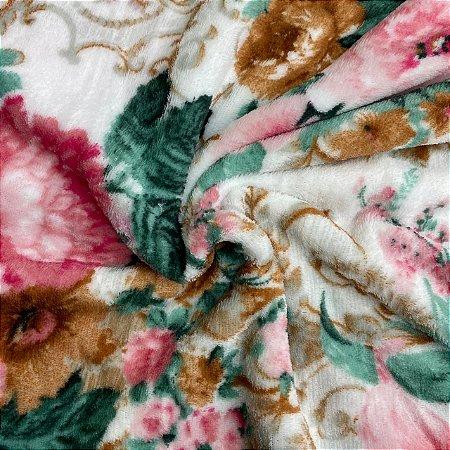 Mantinha Fleece Estampada Floral