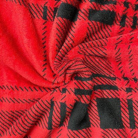 Mantinha Fleece Estampada Xadrez Vermelho