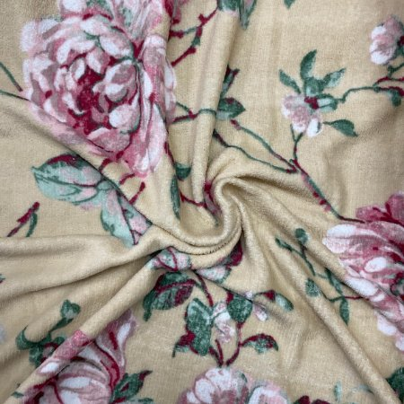 Mantinha Fleece Estampada Floral Areia