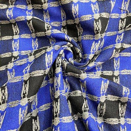 Lã Tweed Xadrez Azul
