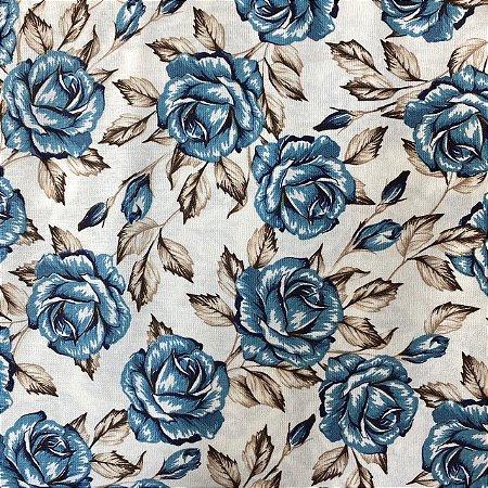 Tricoline Estampada Flor em Azul