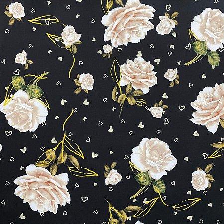 Neoprene Floral Rosas Brancas