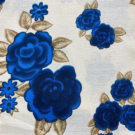 Gorgurão Floral Azul