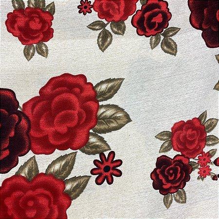 Gorgurão Floral Vermelho