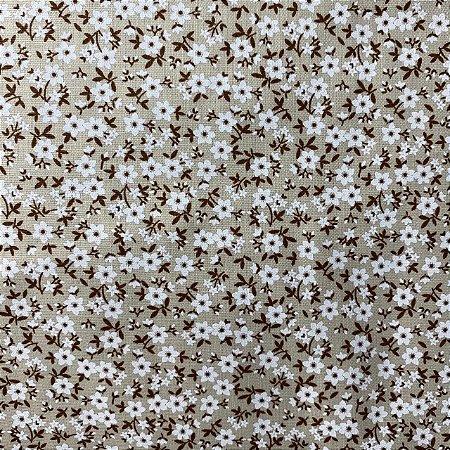 Tricoline Estampada Flores Brancas Fundo Areia
