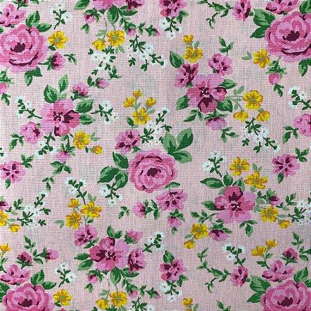 Tricoline Estampada Rosas Fundo Rosa
