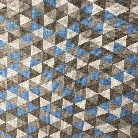 Tricoline Estampada Triângulos Azuis