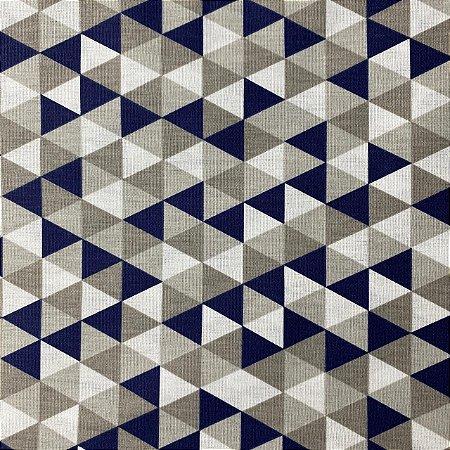 Tricoline Estampada Triângulos Marinhos