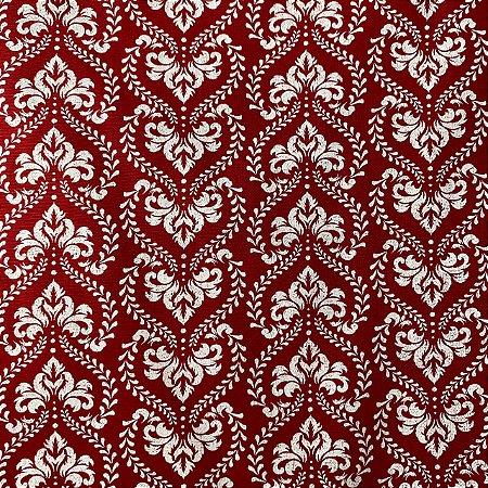 Tricoline Estampada Ornamentada Vermelha