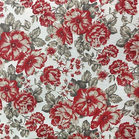 Gorgurão Belize Estampado Flores Vermelhas