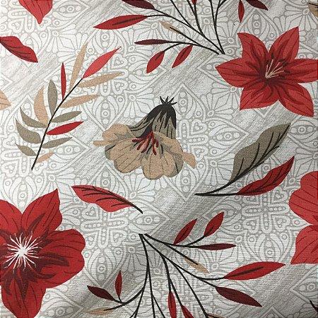 Gorgurão Belize Estampado Flores Fundo Ornamentado