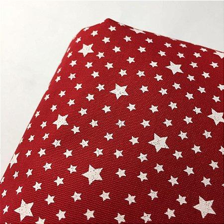 Tricoline Estampada Estrelas Vermelha