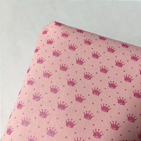 Tricoline Estampada Coroazinhas Rosa