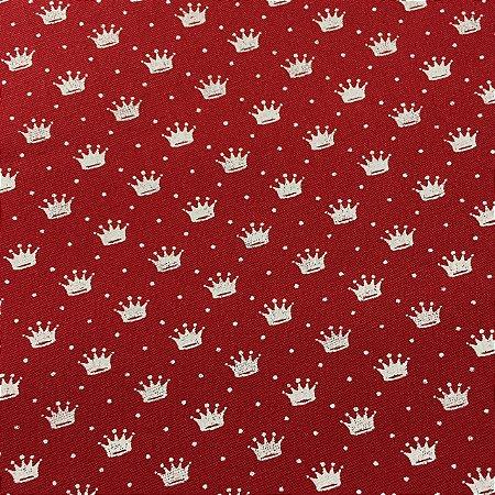 Tricoline Estampada Coroazinhas Vermelha