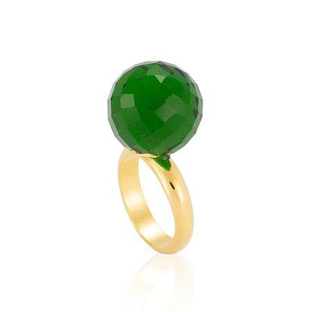 Anel Bubble Bouquet Ouro Cristal Lirio Verde