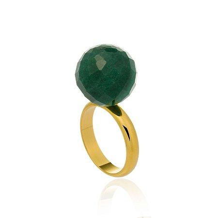 Anel Bubbles Ouro Quartzo Verde