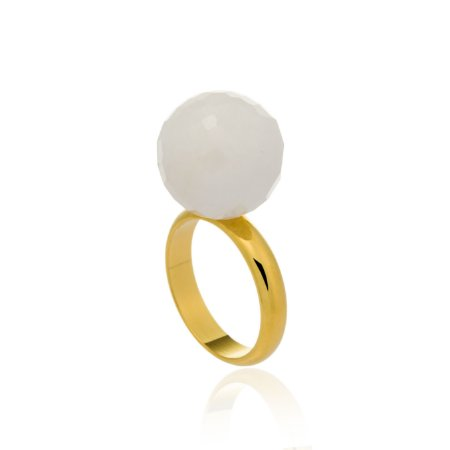 Anel Bubble Ouro Quartzo Branco
