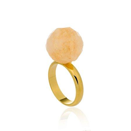 Anel Bubbles Ouro Quartzo Laranja