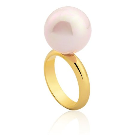 Anel Bubbles Ouro Shell Rosa