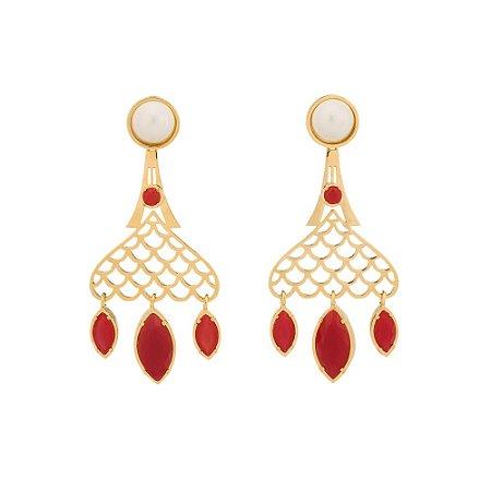 Brinco Burlesque 712 Ouro Shell Branca Cristal Vermelho
