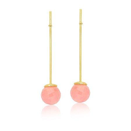 Brinco Bubbles 672 Ouro Quartzo Rosa