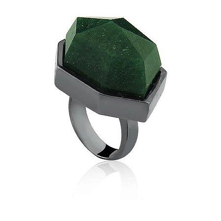 Anel AD 301 Ródio Negro Quartzo Verde