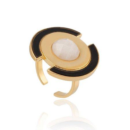 Anel Delaunay Ouro Quartzo Branco Resina Preta