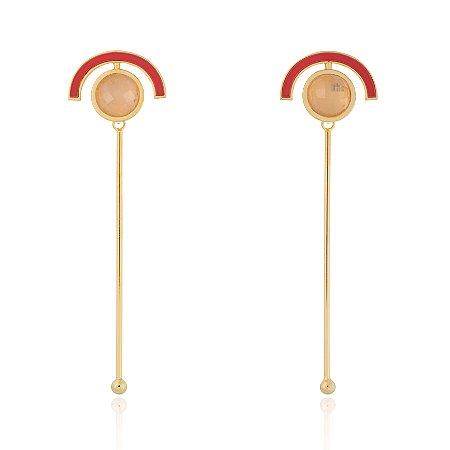 Brinco Delaunay 803 Ouro Quartzo Rosa Resina Vermelha