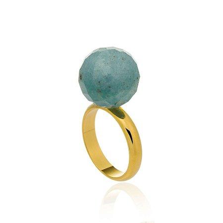 Anel Bubbles Ouro Quartzo Azul