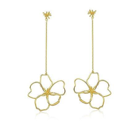 Brinco Onda Tropical Flor Corrente Ouro