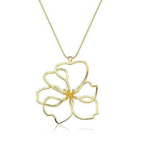 Pingente Onda Tropical Flor Ouro