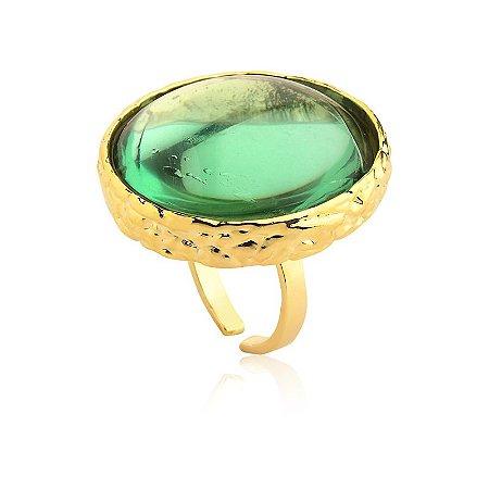 Anel Deserto 375 Ouro Prasiolita Verde