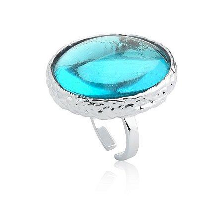 Anel Deserto 375 Ródio Topázio Azul