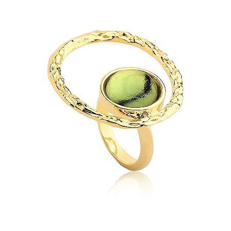 Anel Deserto 374 Ouro Prasiolita Verde