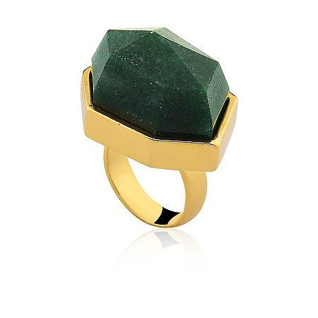 Anel AD 301 Ouro Quartzo Verde