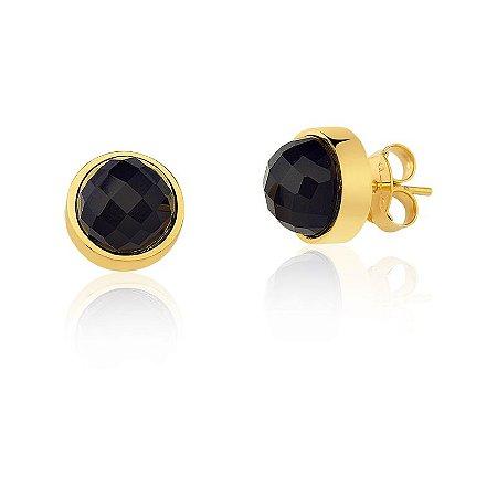 Brinco Baby Bubble 691 Ouro Quartzo Negro